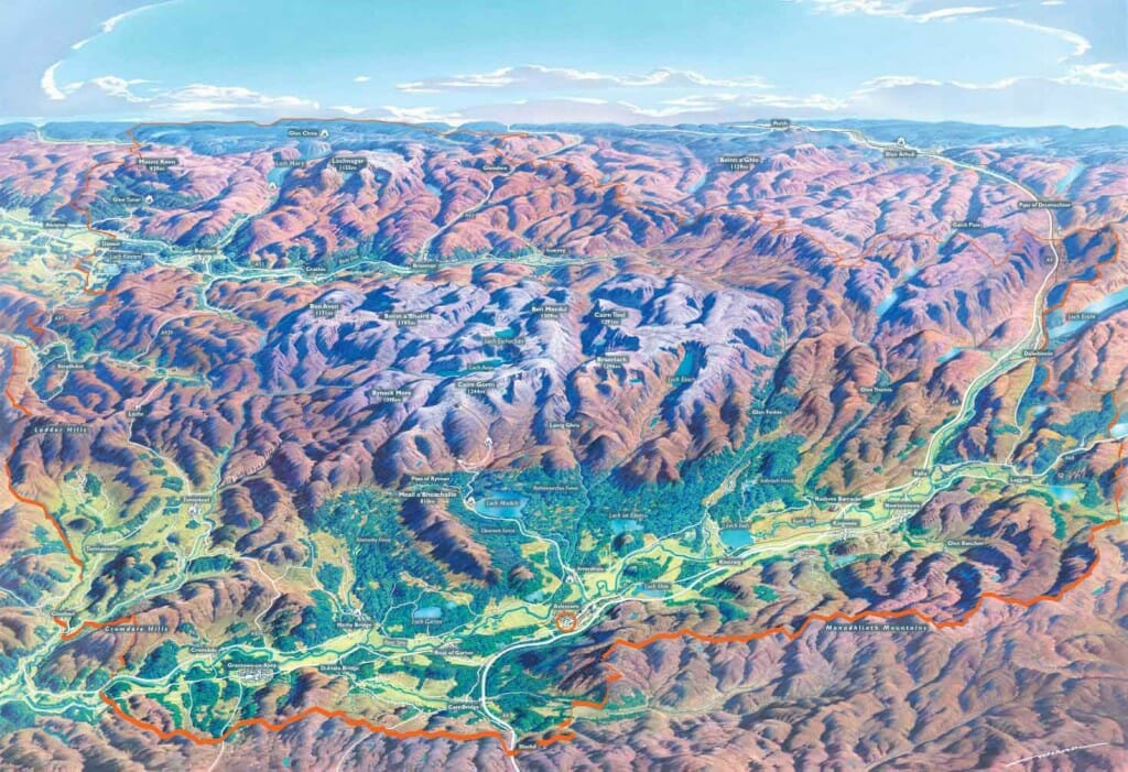 Cairngorms National Park panorama map viewed from Aviemore
